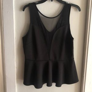 Black peplum top with mesh front